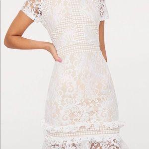 White Frill Lace Bodycon Dress